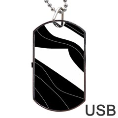 White and black decorative design Dog Tag USB Flash (One Side)