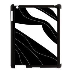 White and black decorative design Apple iPad 3/4 Case (Black)