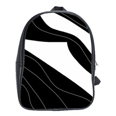 White and black decorative design School Bags (XL)