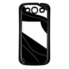 White and black decorative design Samsung Galaxy S3 Back Case (Black)