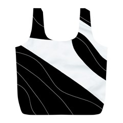 White and black decorative design Full Print Recycle Bags (L)