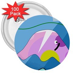 Under the sea 3  Buttons (100 pack)