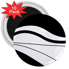 White and black harmony 3  Magnets (10 pack)