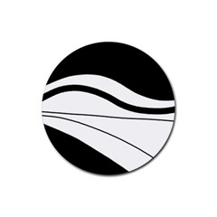 White and black harmony Rubber Round Coaster (4 pack)
