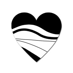 White and black harmony Heart Magnet