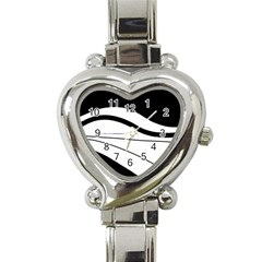 White and black harmony Heart Italian Charm Watch
