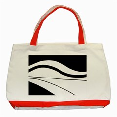 White and black harmony Classic Tote Bag (Red)