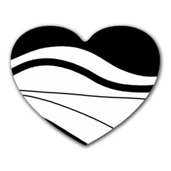 White and black harmony Heart Mousepads