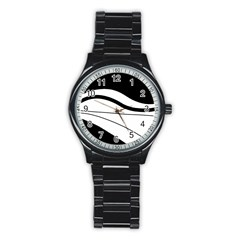 White and black harmony Stainless Steel Round Watch