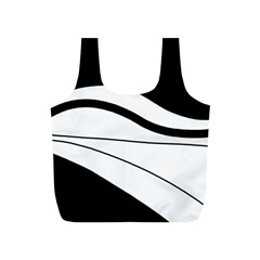 White and black harmony Full Print Recycle Bags (S)