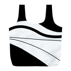 White and black harmony Full Print Recycle Bags (L)