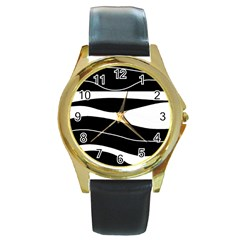 Black light Round Gold Metal Watch