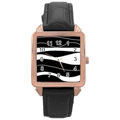 Black light Rose Gold Leather Watch