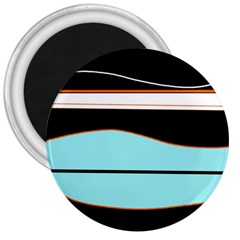 Cyan, black and white waves 3  Magnets