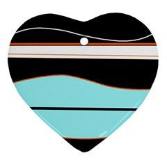 Cyan, black and white waves Ornament (Heart)