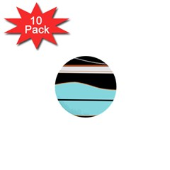 Cyan, black and white waves 1  Mini Buttons (10 pack)