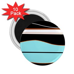 Cyan, black and white waves 2.25  Magnets (10 pack)