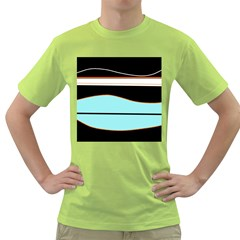 Cyan, black and white waves Green T-Shirt