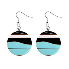 Cyan, black and white waves Mini Button Earrings