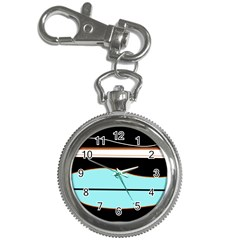 Cyan, black and white waves Key Chain Watches