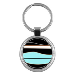 Cyan, black and white waves Key Chains (Round)