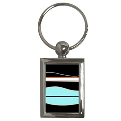 Cyan, black and white waves Key Chains (Rectangle)