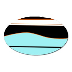 Cyan, black and white waves Oval Magnet