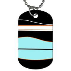 Cyan, black and white waves Dog Tag (One Side)