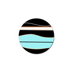 Cyan, black and white waves Golf Ball Marker (4 pack)