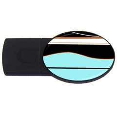 Cyan, black and white waves USB Flash Drive Oval (2 GB)