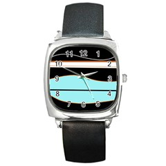 Cyan, black and white waves Square Metal Watch