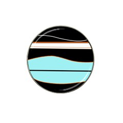 Cyan, black and white waves Hat Clip Ball Marker (10 pack)