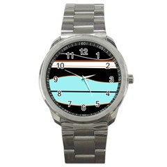 Cyan, black and white waves Sport Metal Watch