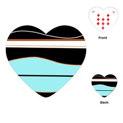 Cyan, black and white waves Playing Cards (Heart)