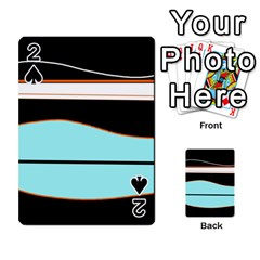 Cyan, black and white waves Playing Cards 54 Designs