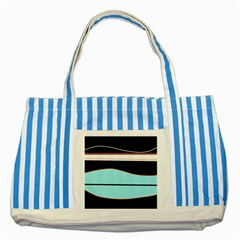 Cyan, black and white waves Striped Blue Tote Bag