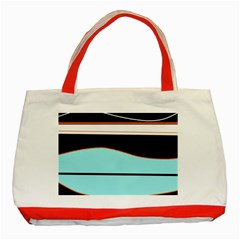 Cyan, black and white waves Classic Tote Bag (Red)