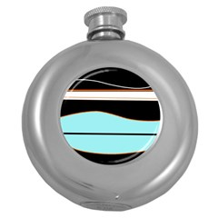 Cyan, black and white waves Round Hip Flask (5 oz)