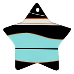 Cyan, black and white waves Star Ornament (Two Sides)