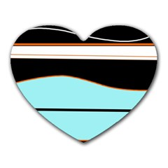 Cyan, black and white waves Heart Mousepads