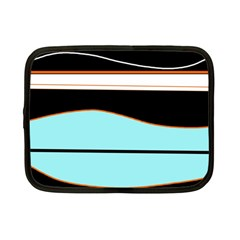 Cyan, black and white waves Netbook Case (Small)