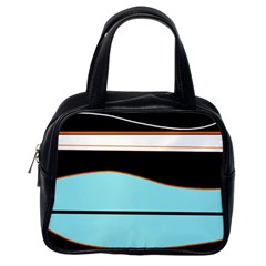Cyan, black and white waves Classic Handbags (One Side)
