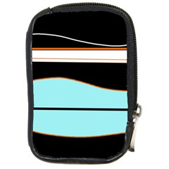 Cyan, black and white waves Compact Camera Cases