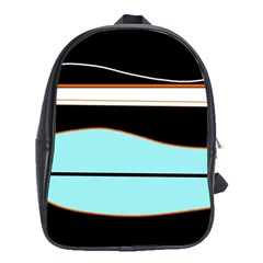 Cyan, black and white waves School Bags(Large)