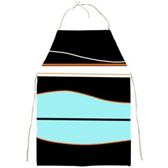 Cyan, black and white waves Full Print Aprons