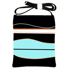 Cyan, black and white waves Shoulder Sling Bags