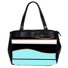 Cyan, black and white waves Office Handbags (2 Sides)
