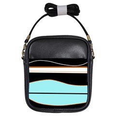 Cyan, black and white waves Girls Sling Bags