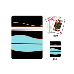 Cyan, black and white waves Playing Cards (Mini)