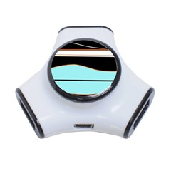Cyan, black and white waves 3-Port USB Hub